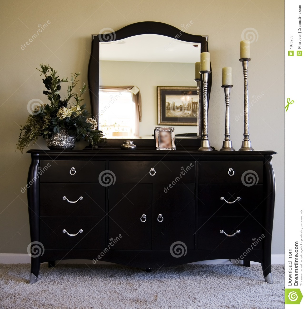 Romantic Bedroom With Mirror On Dresser Stock Image Image 1976763