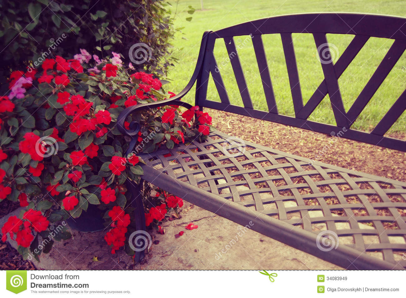 Romantic Bench In The Garden Royalty Free Stock Images