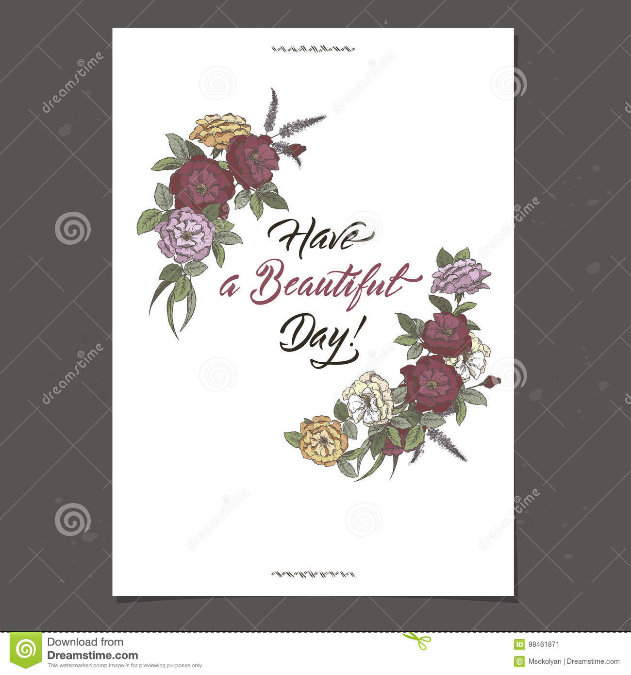 Romantic A4 Birthday Card Template With Calligraphy And Roses Sketch