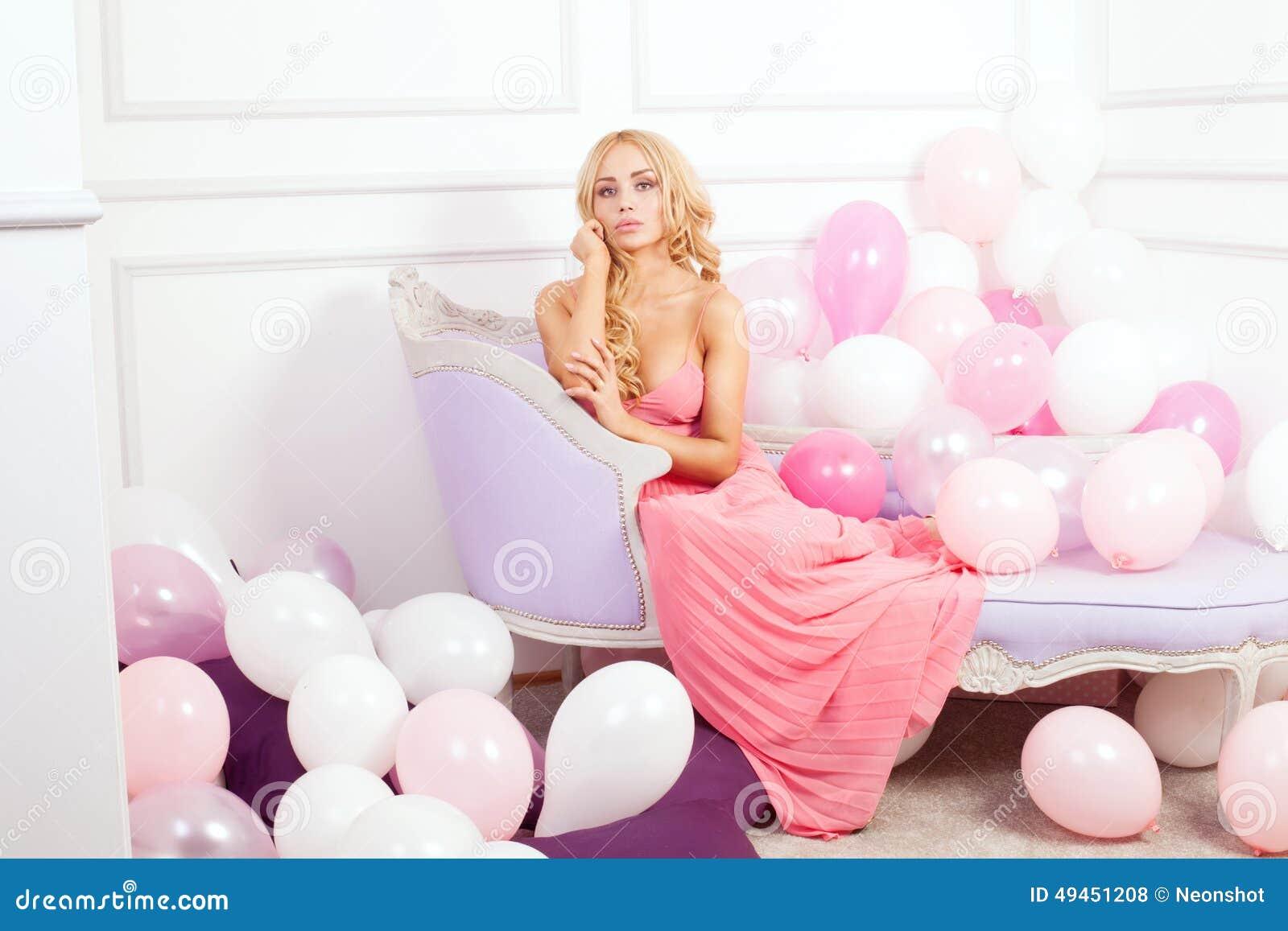 Romantic blonde woman posing