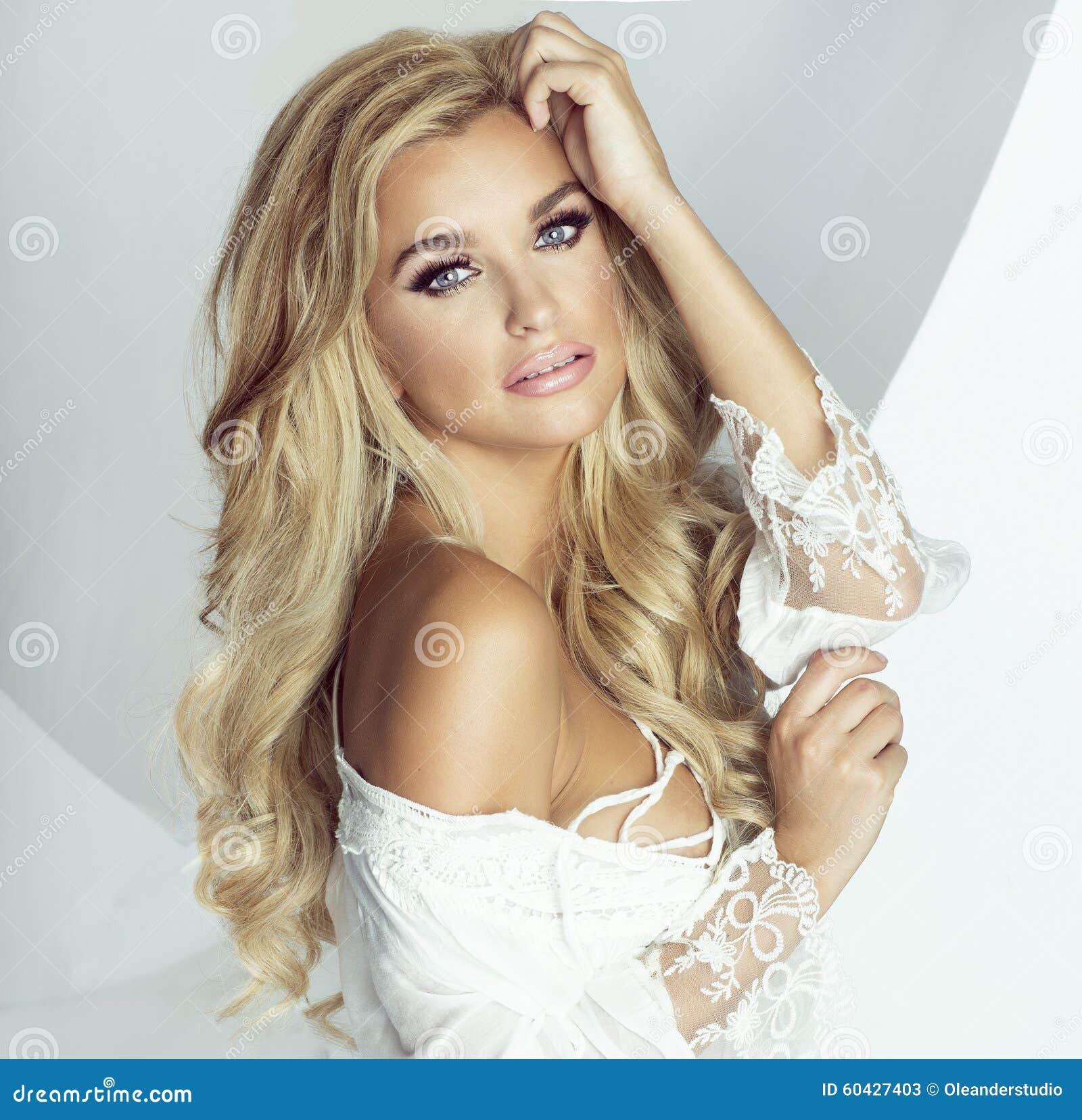Romantic blonde woman .