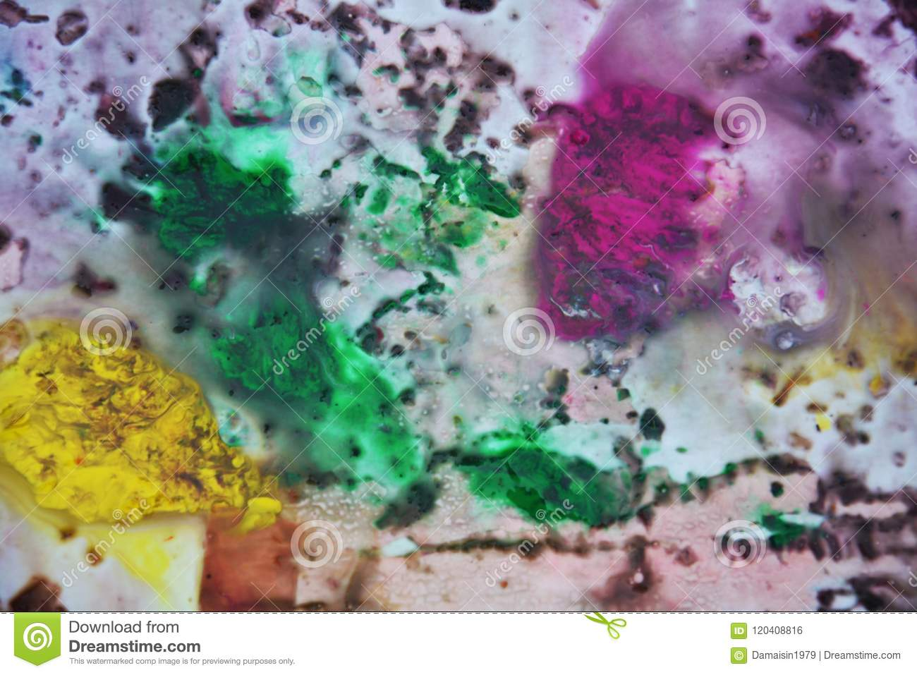 Purple Violet Green Yellow Dark Colors And Hues. Abstract Wet Paint ...