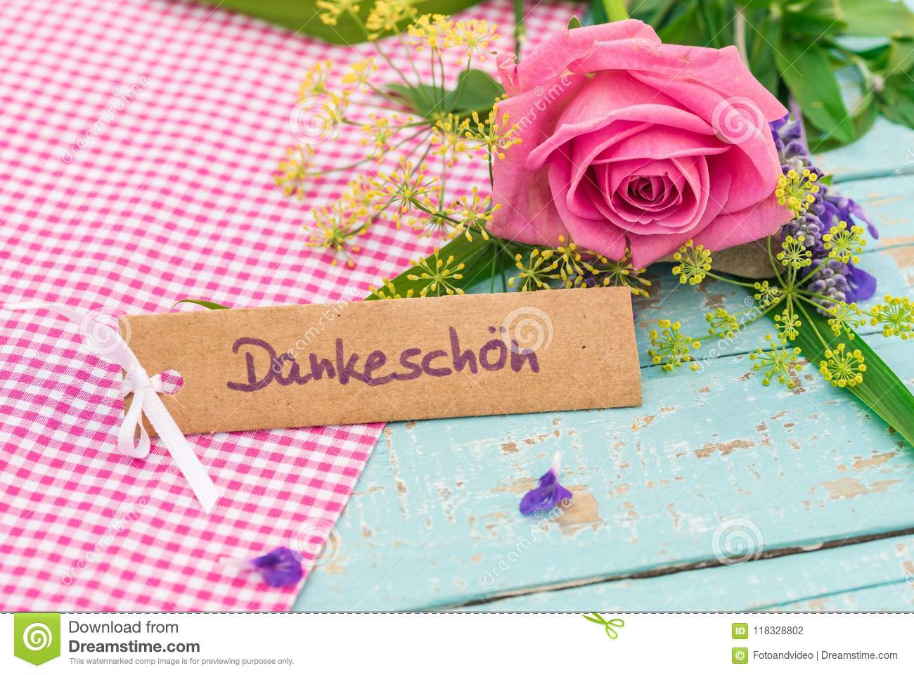 Card With Word Dankeschoen Means Thanks And Pink Rose Flower Stock