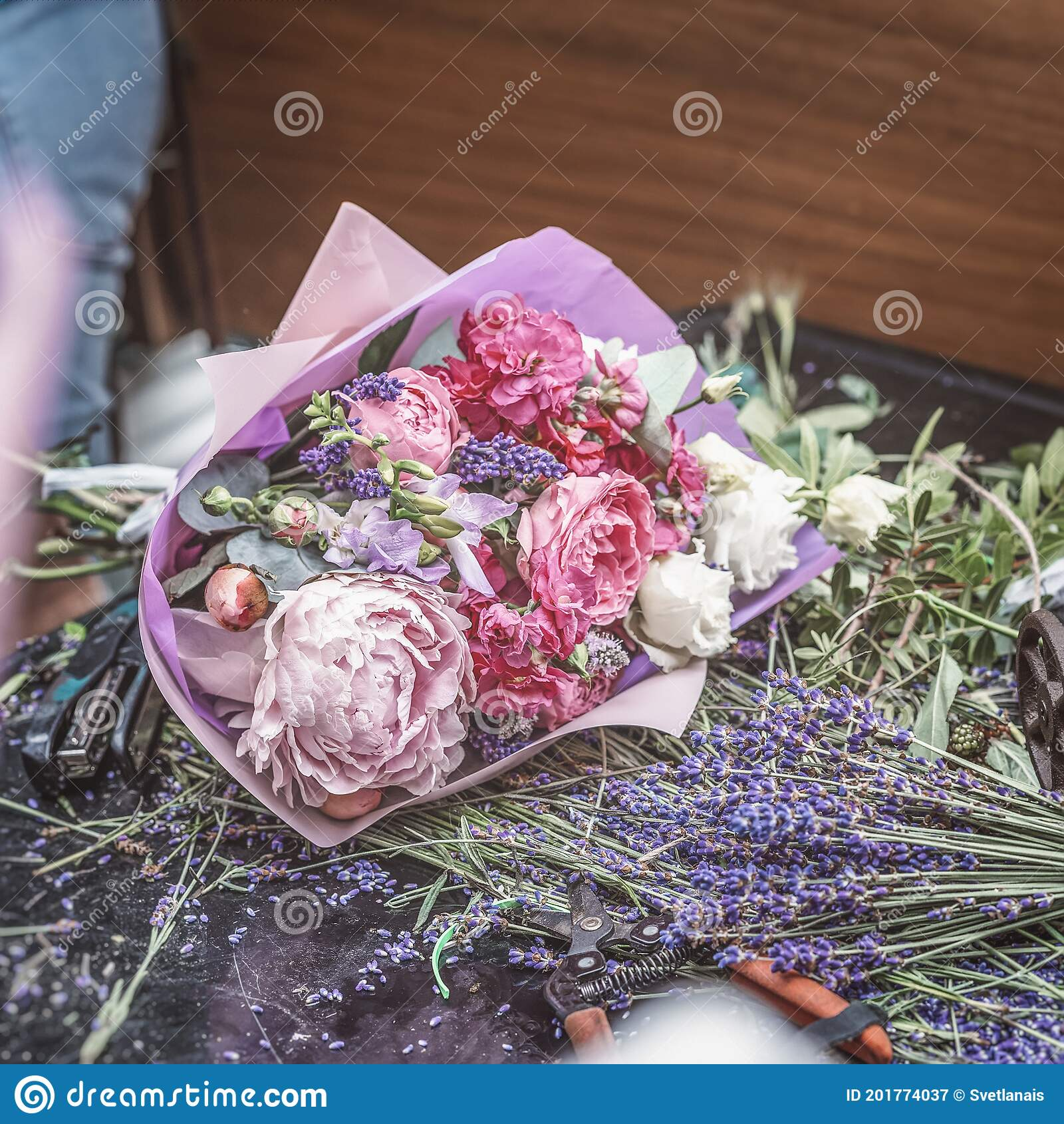 Romantic Bouquet In Pink Shades On The Florist S Table Mix Of Lavender Peonies Roses Stock Image Image Of Arrangement Composition 201774037