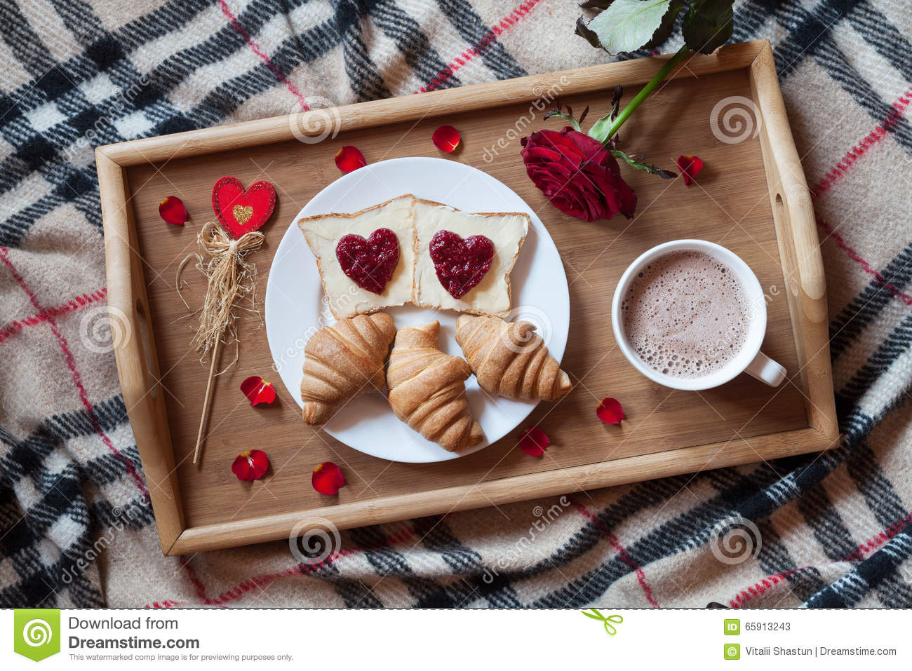 Romantic Breakfast In Bed For Valentines Day Toasts With