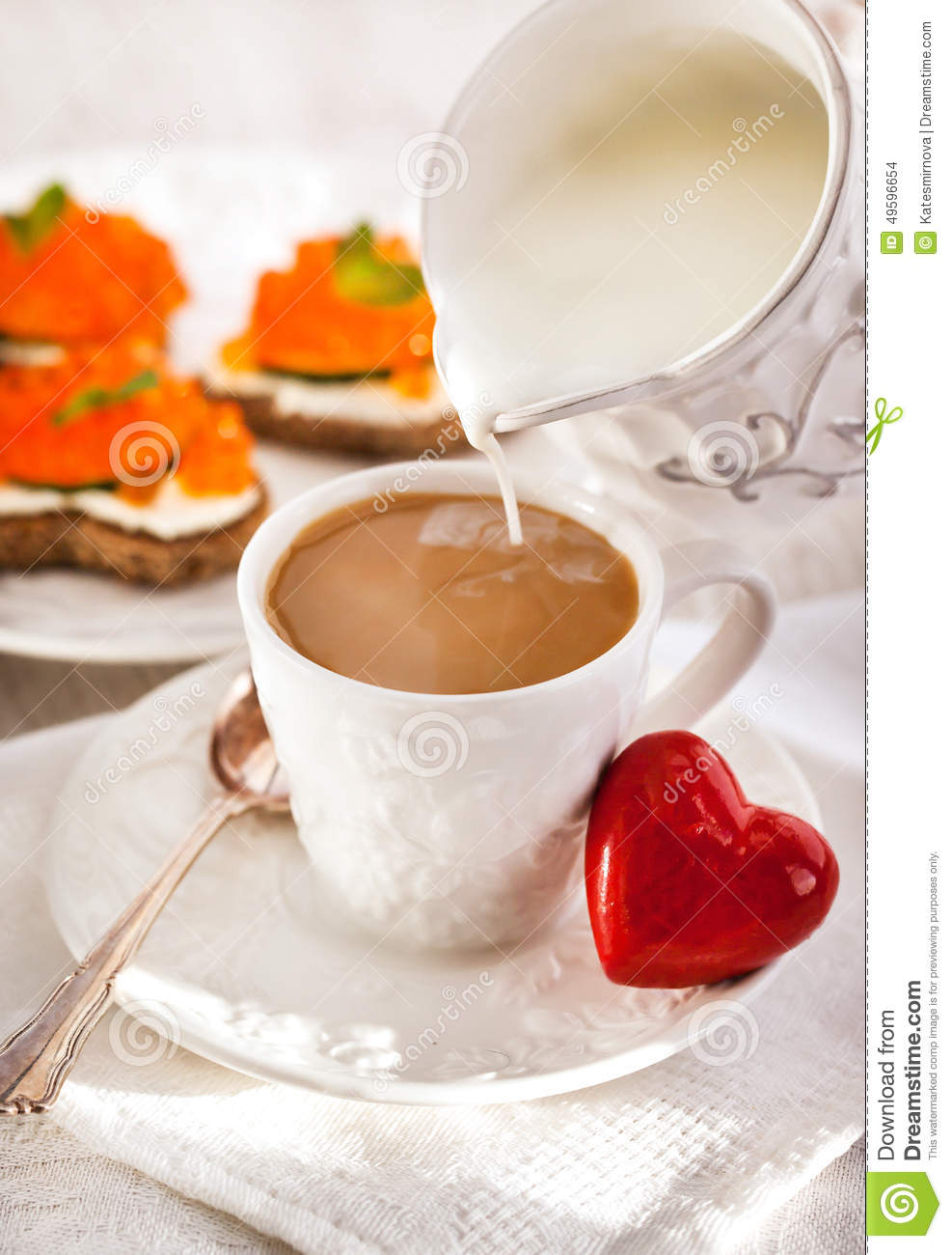 Romantic breakfast with coffee and toasts stock photo for Petit dejeuner en amoureux maison
