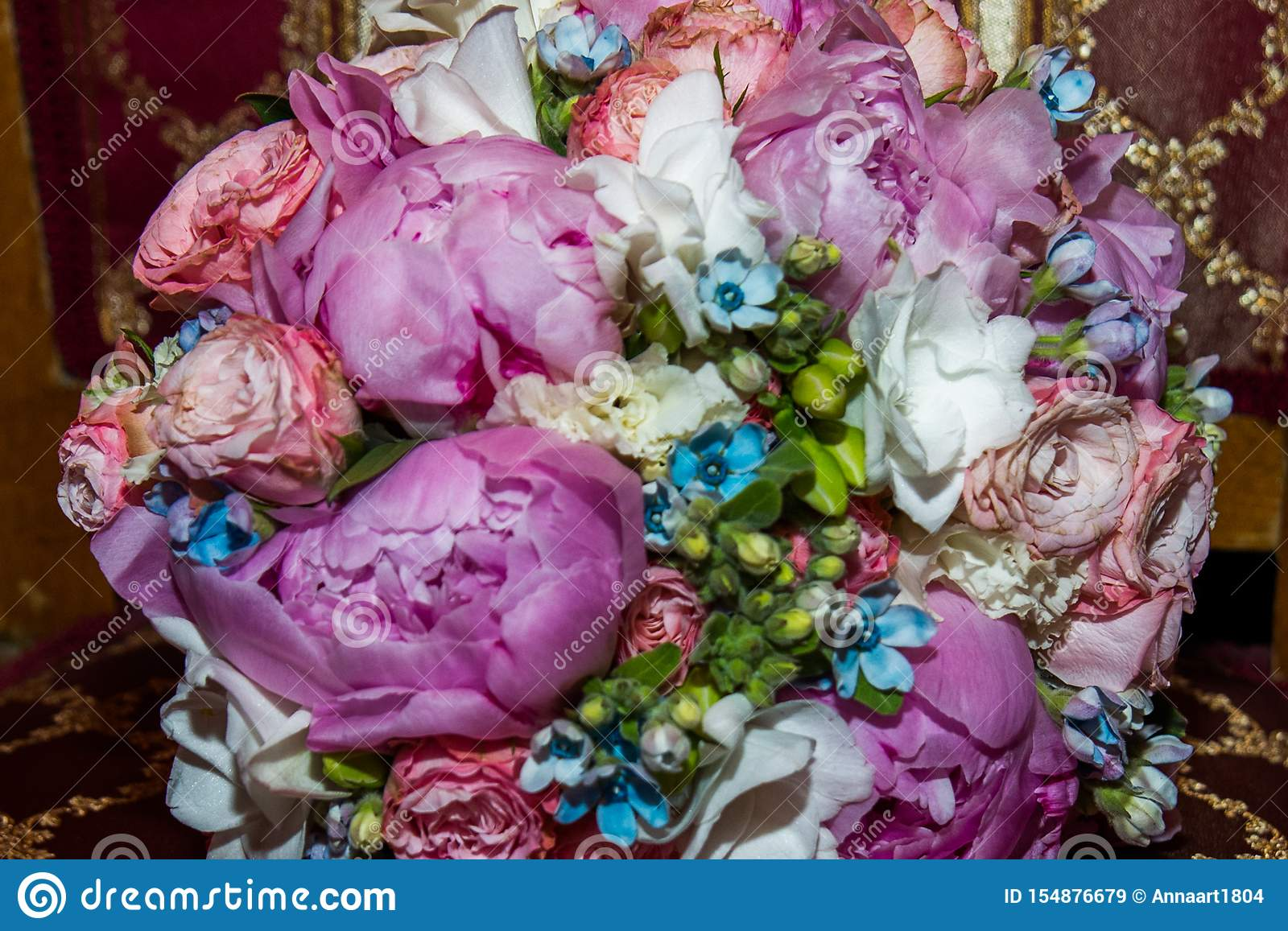 Romantic Bridal Bouquet Of Different Flowers Beautiful Pink Roses