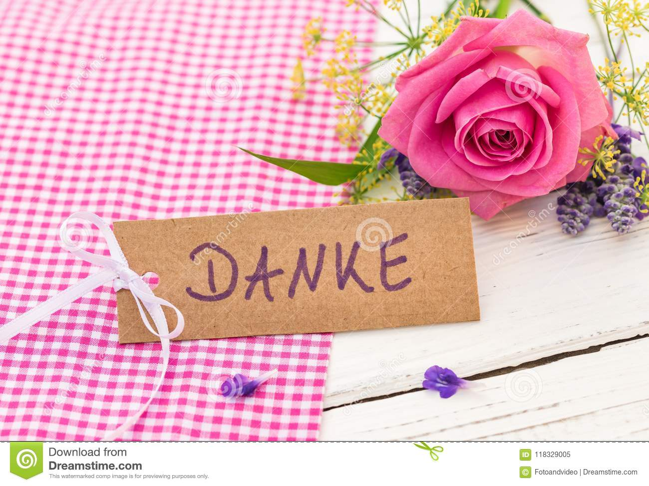 Card With German Word Danke Means Thank You With Beautiful Bunch Of