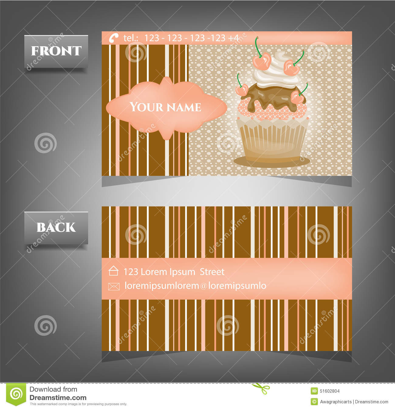 Romantic business card front back with text stock vector romantic business card front back with text reheart Images