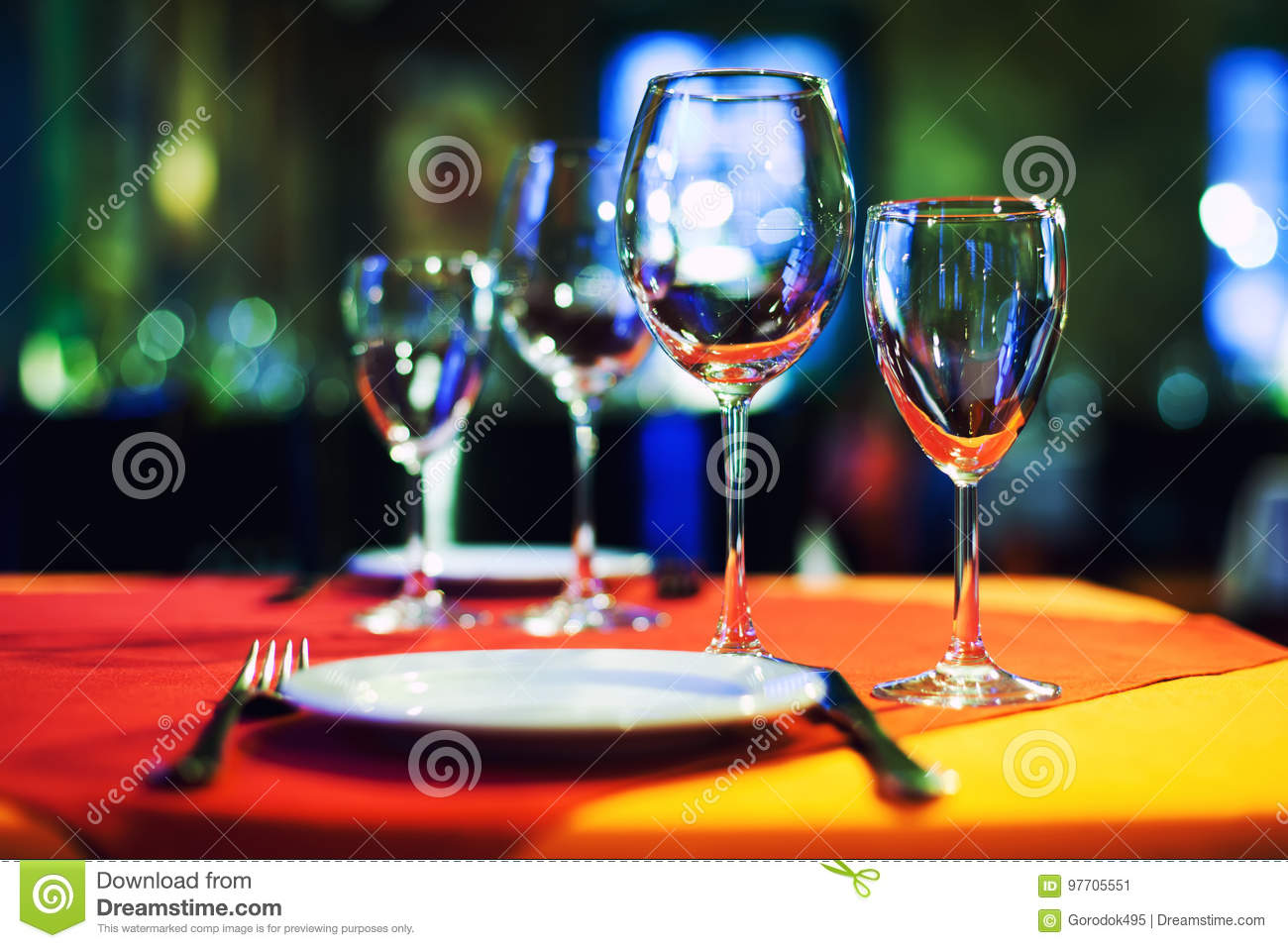 Romantic Cafe Restaurant Interior Background Served Table Empty Wine Glasses White Plate And Cutlery Bright Blurred Stock Image Image Of Glass Hotel 97705551