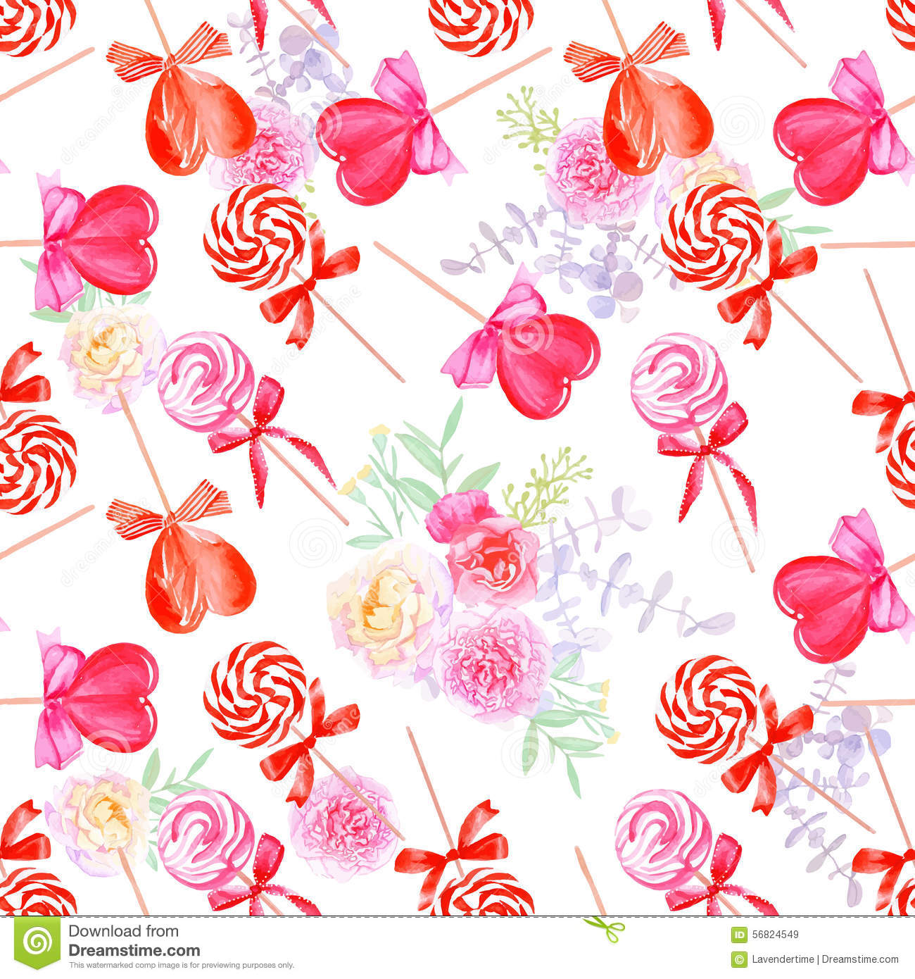 Romantic Candy With Flowers Watercolor Seamless Vector Print Stock ...