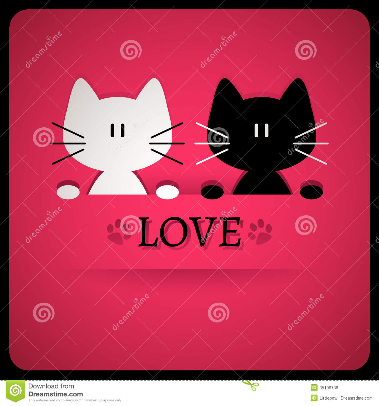 Romantic Card With Cute Cats