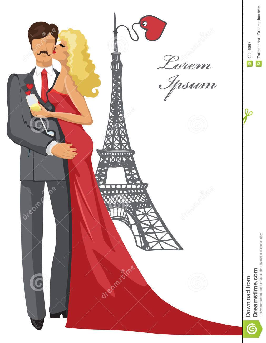 romantic card template kissing couple eiffel tower stock vector