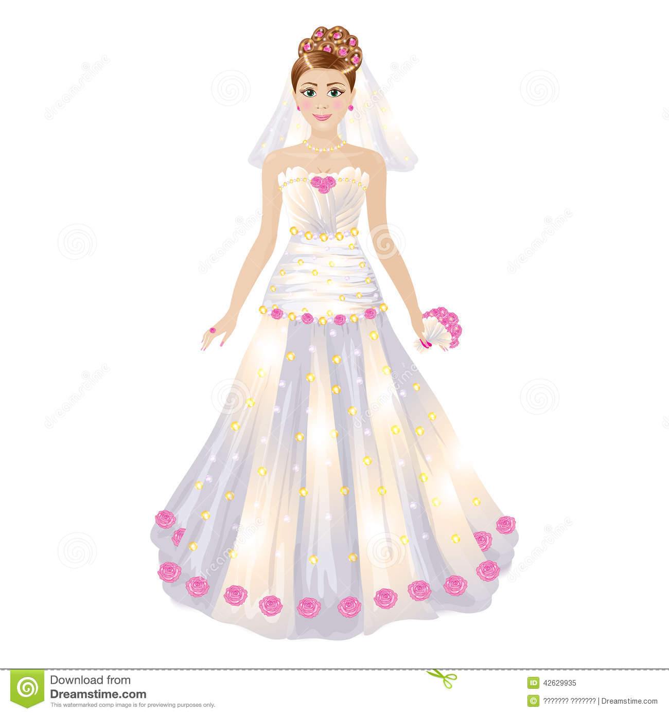 romantic cartoon bride holding bouquet of roses stock bouquet of flowers clip art free bouquet of flowers clip art free images