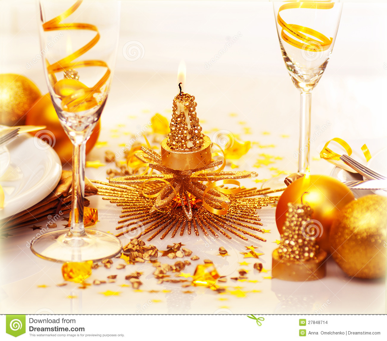 Romantic Christmas Dinner Stock Images Image 27848714