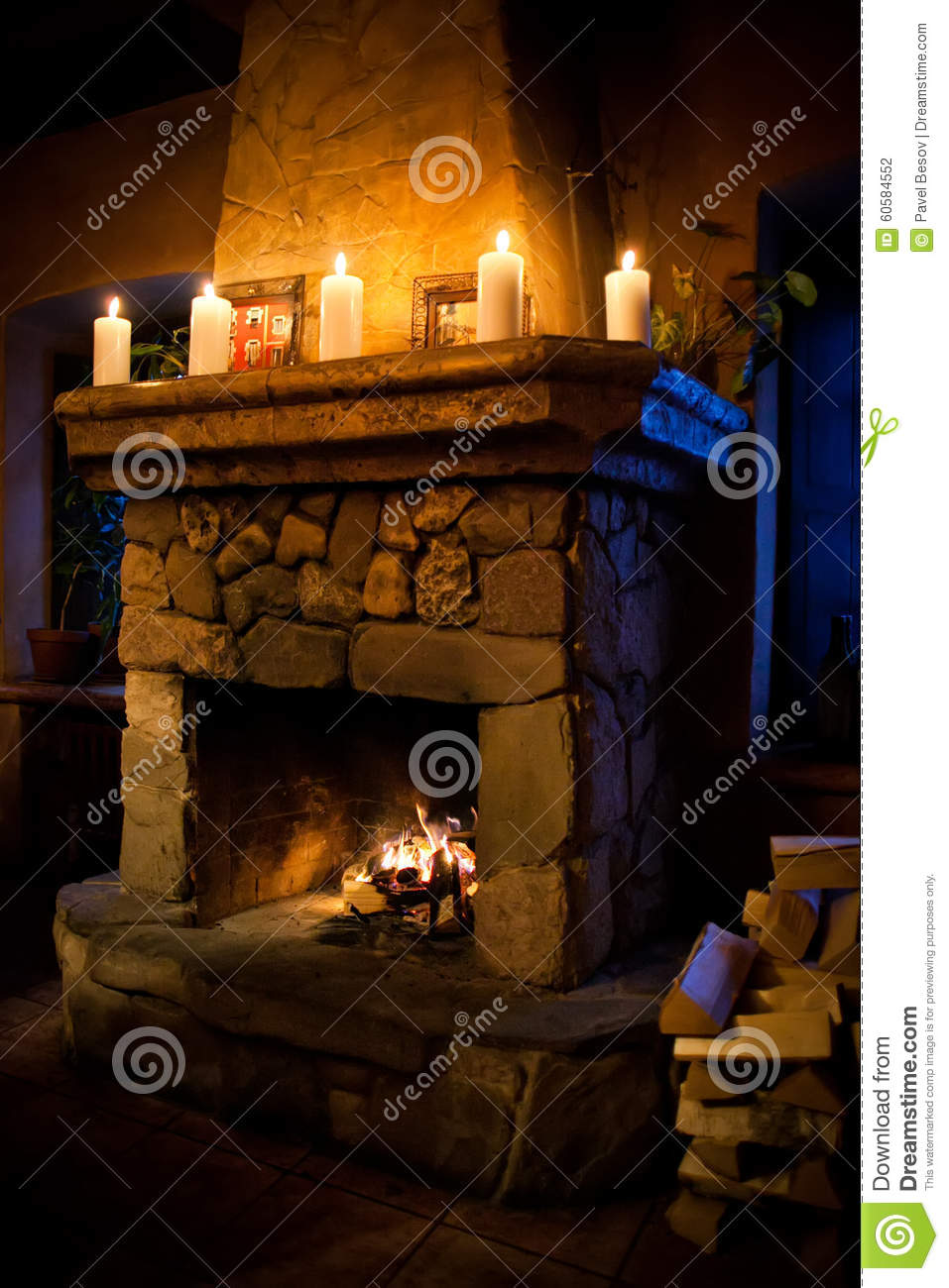 Romantic christmas interior. Fireplace room with chimney, candles and  woodpile. - Romantic Christmas Interior. Fireplace Room With Chimney, Candles