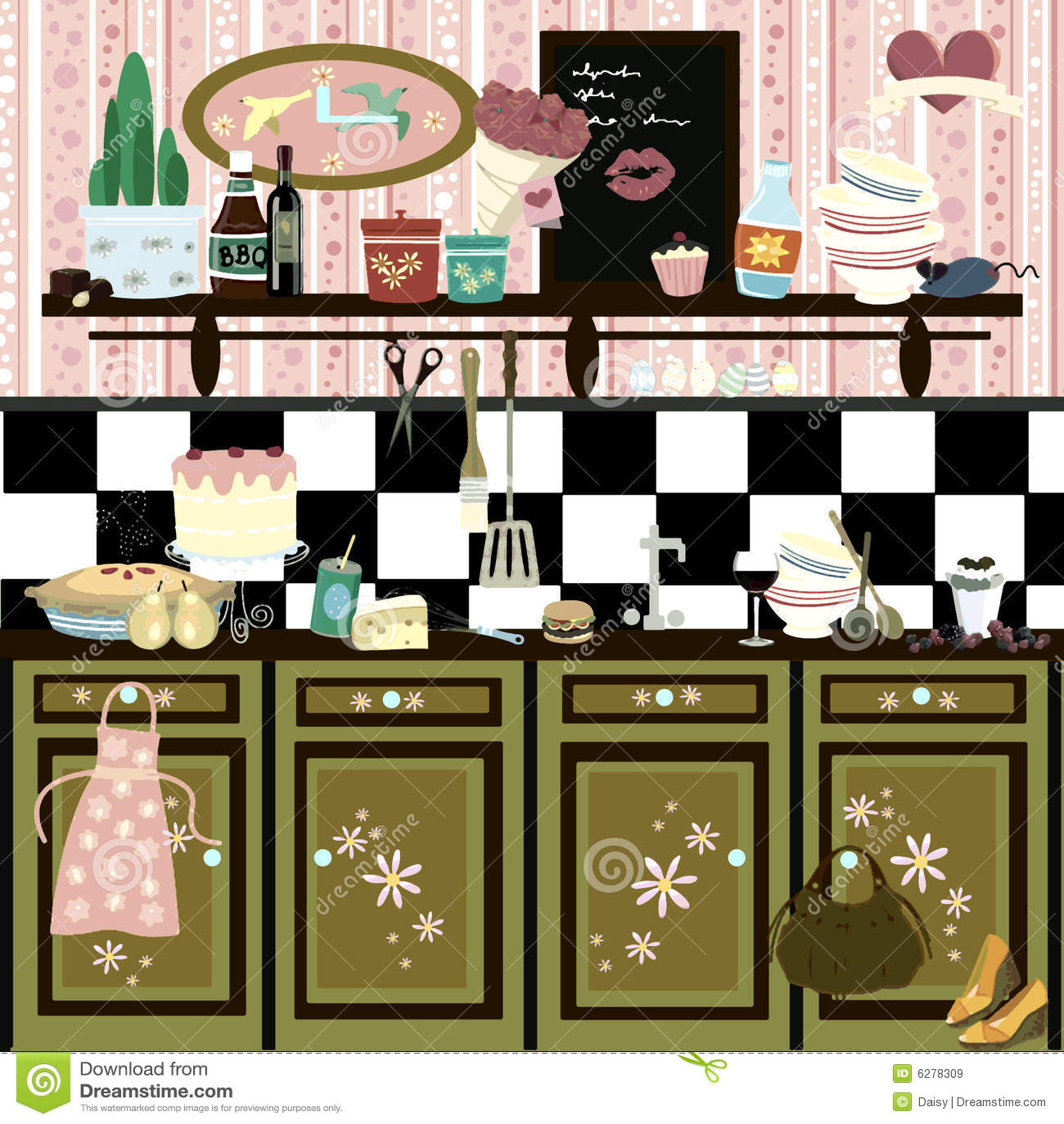 Romantic country style retro kitchen
