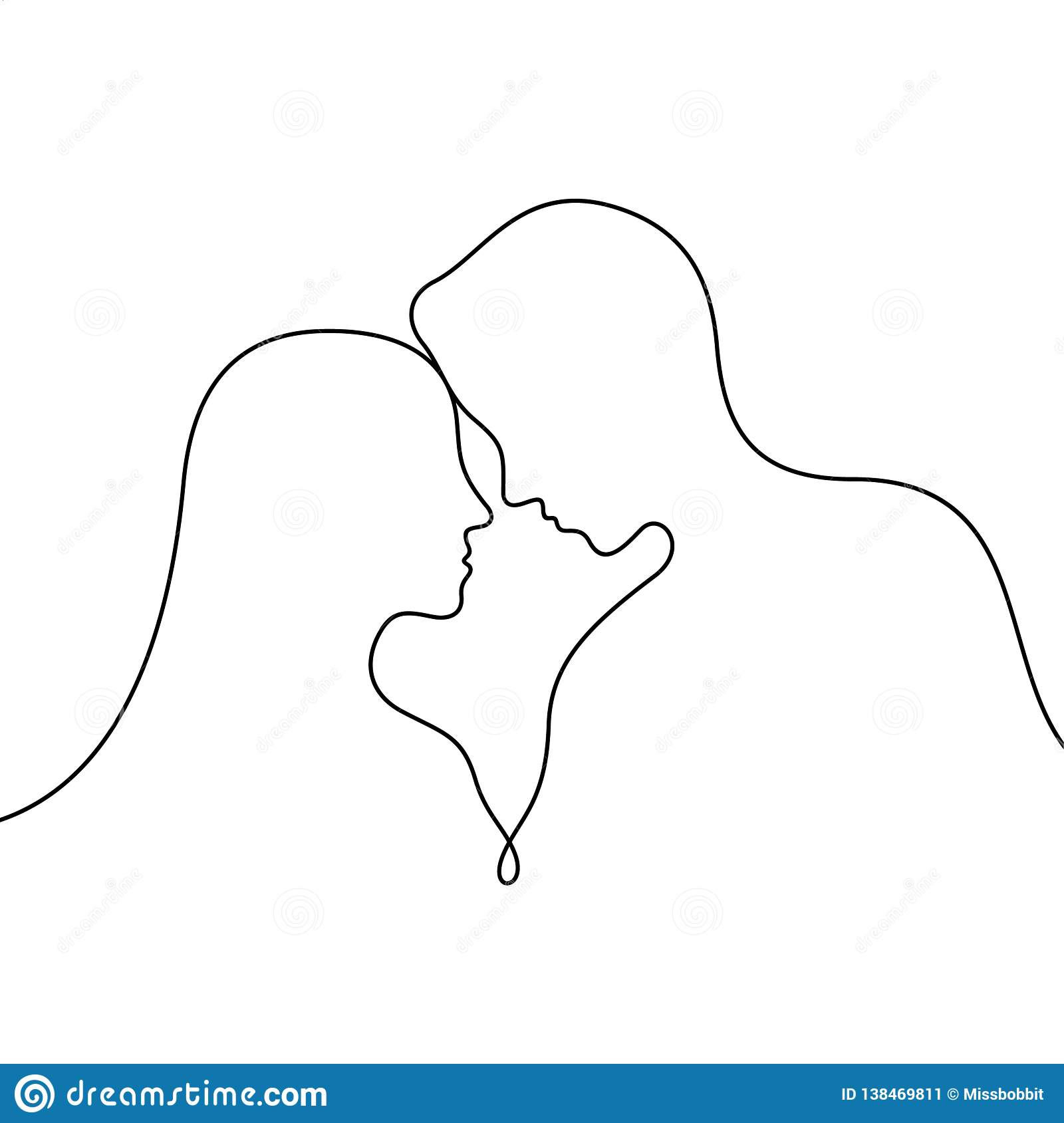 Loving couple continuous line vector illustration stock