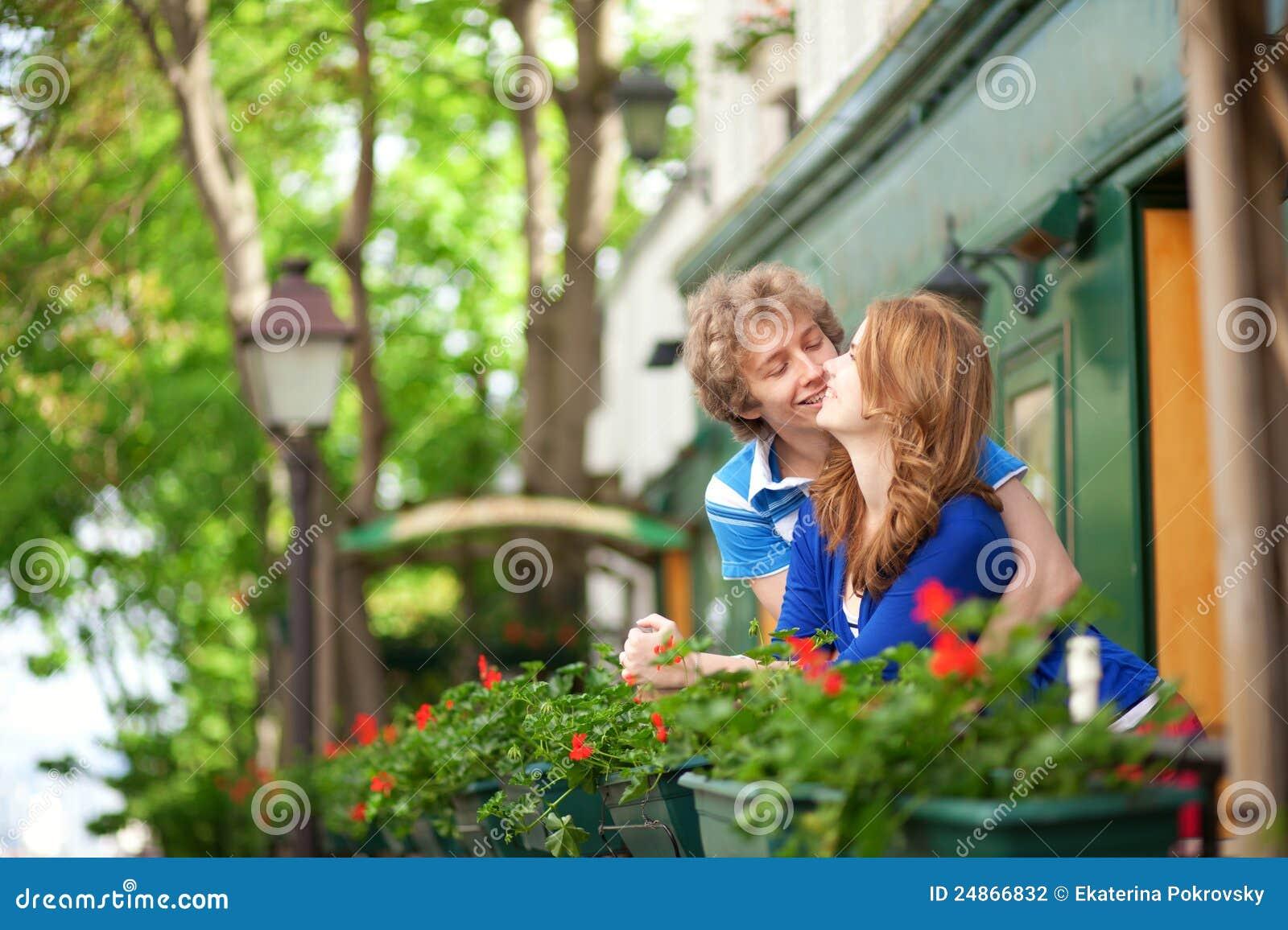 Romantic couple on the balcony stock photography - image: 24.