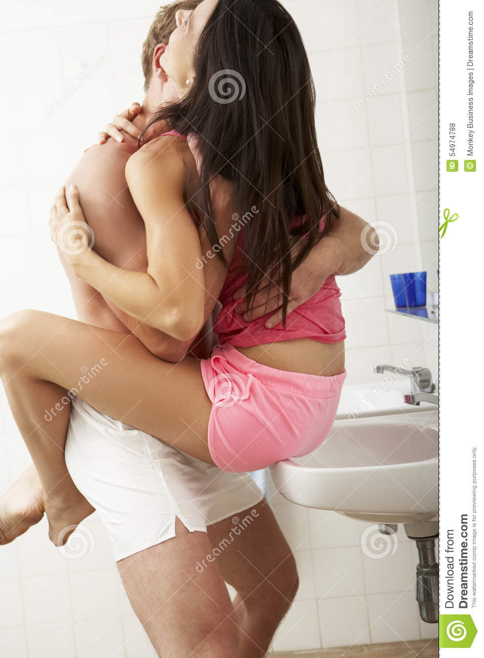 Romantic Couple In Bathroom