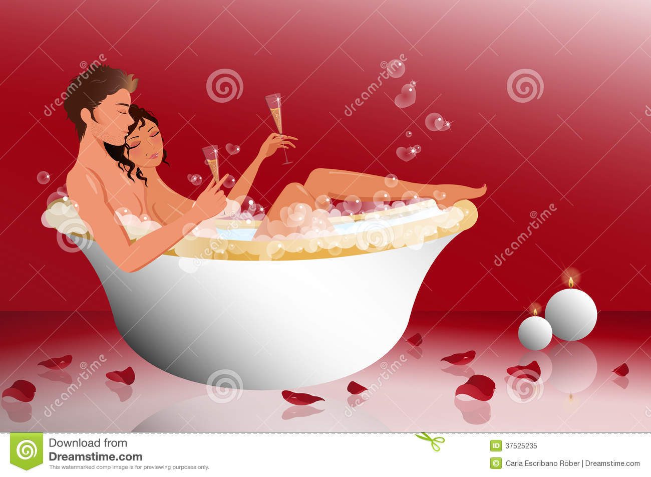 romantic couple in the bathtub stock vector illustration of bubbles valentines 37525235. Black Bedroom Furniture Sets. Home Design Ideas