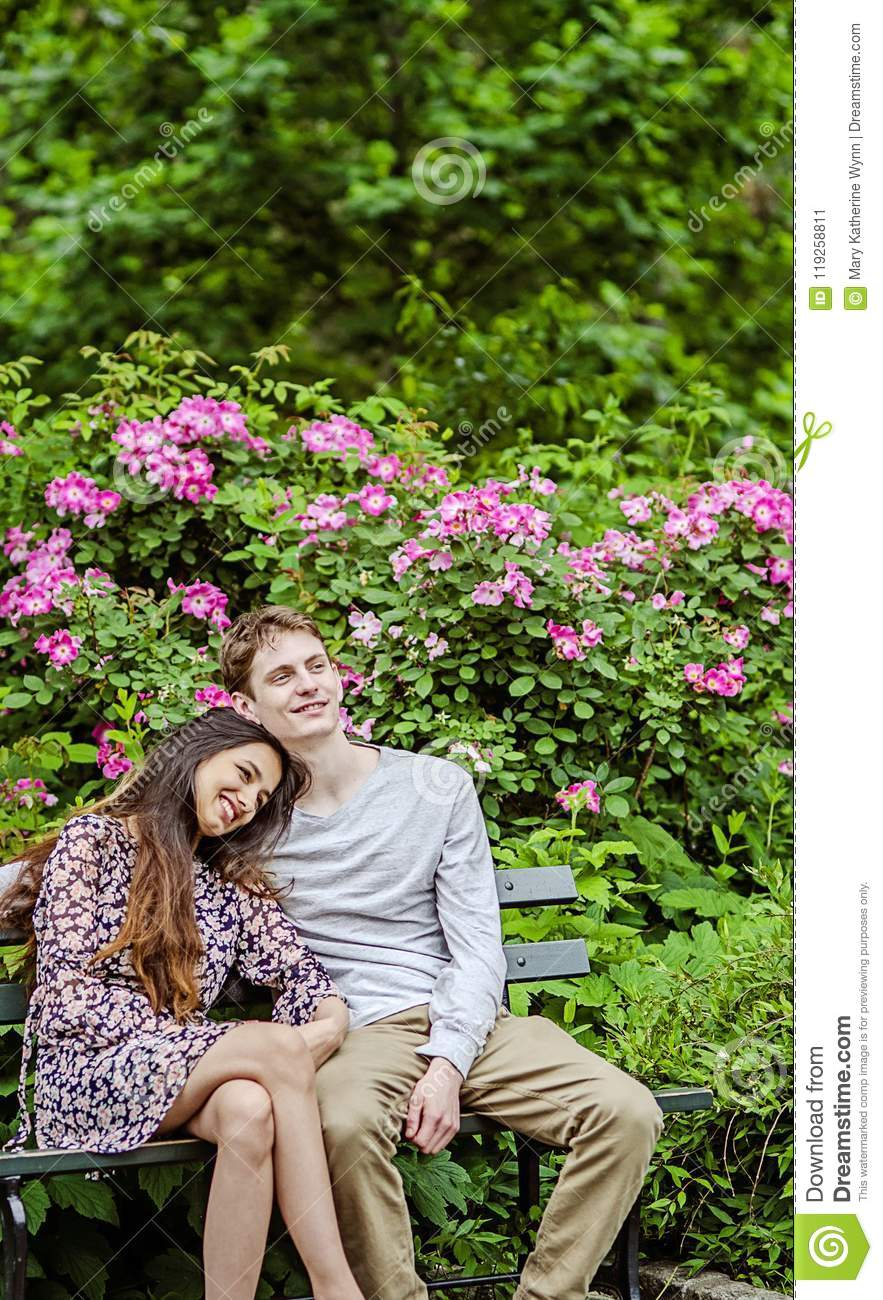 Romantic Couple On Bench In Garden Stock Image Image Of Healthy Cute 119258811