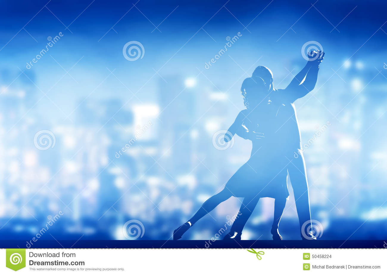 Romantic couple dance. Elegant classic pose. City nightlife
