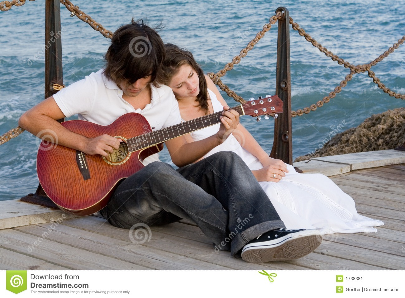 Download Romantic Couple With Guitar Stock Image - Image of love, playing: 1738381