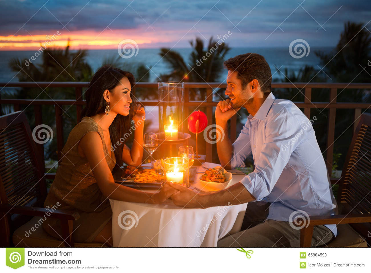 Romantic Couple Have Dinner Outdoor Stock Photo Image