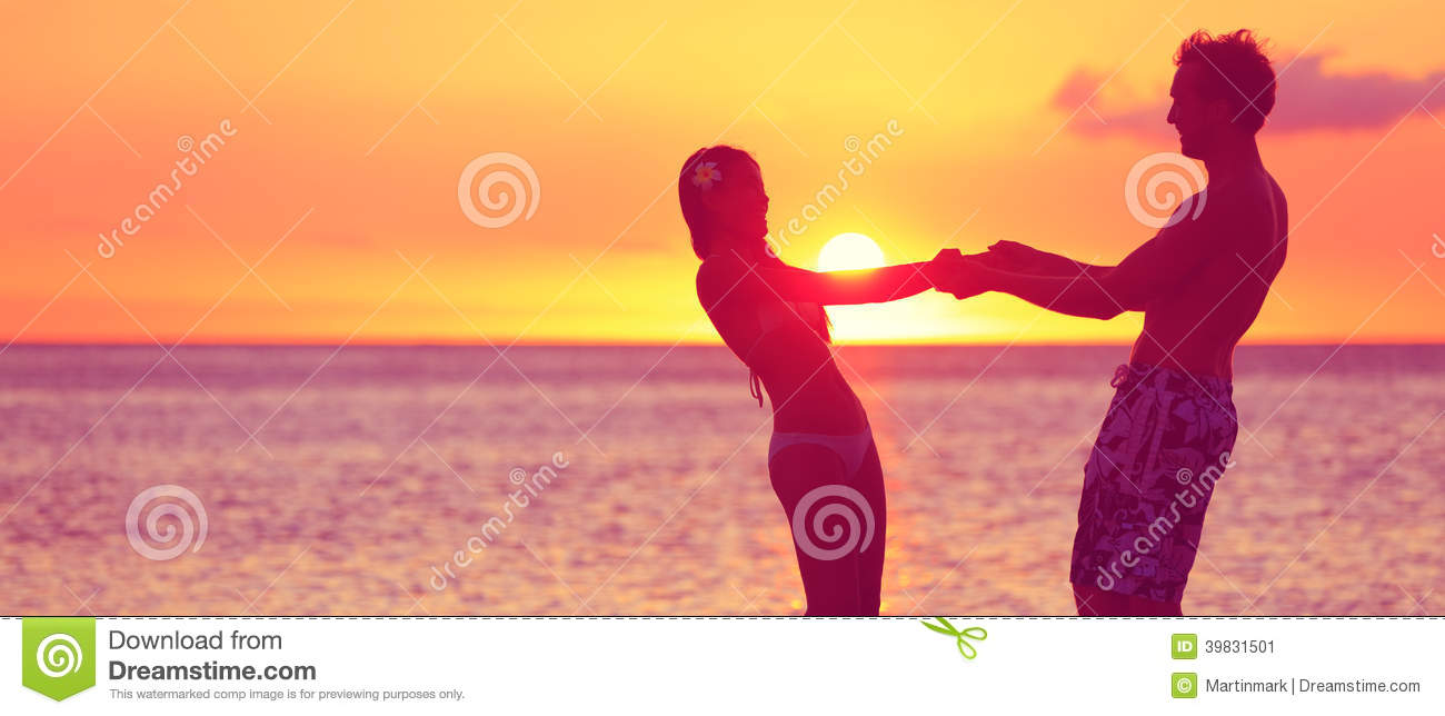 Romantic couple honeymoon travel banner on beach stock image royalty free stock photo kristyandbryce Images
