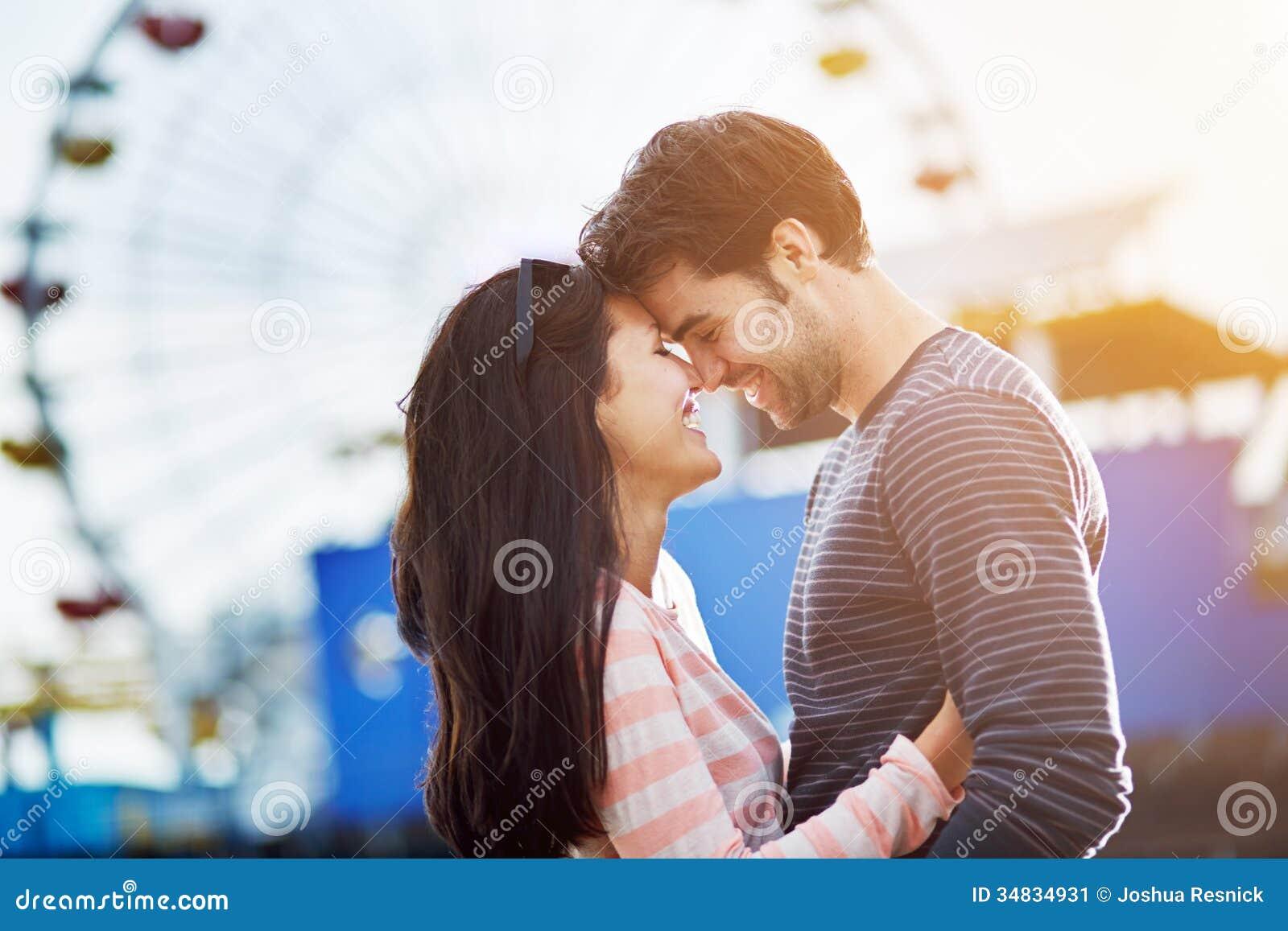 Romantic couple infront of santa monica