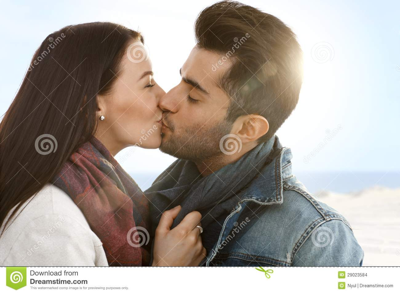 Romantic Couple Kissing On The Beach Stock Photo - Image ...