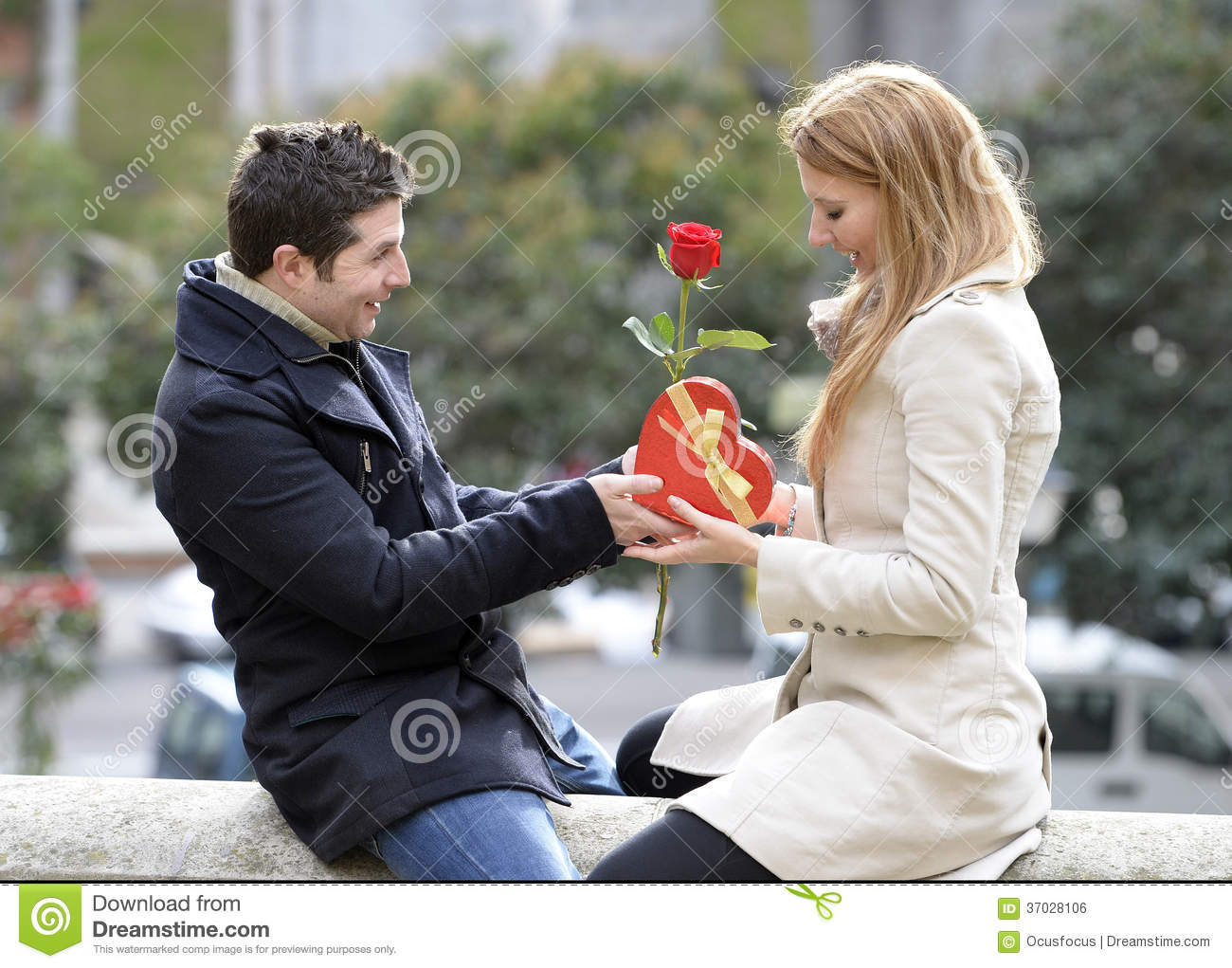 Romantic couple in love celebrating anniversary stock photo