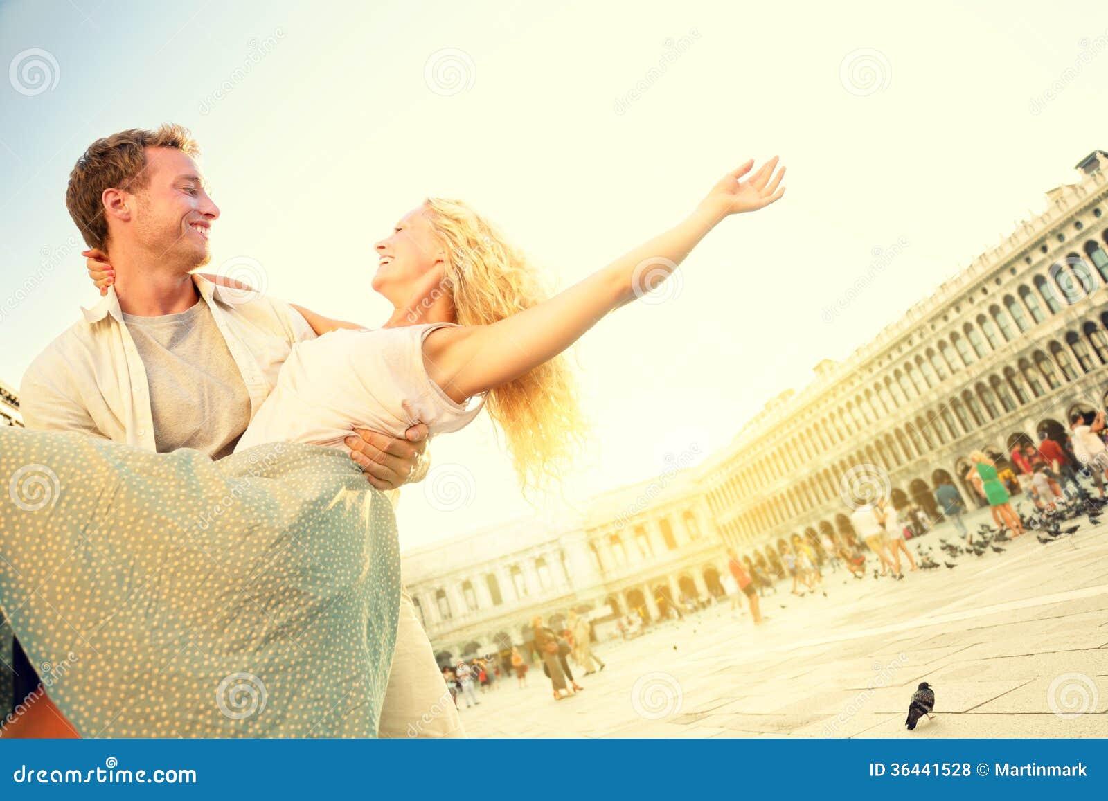 Romantic couple in love having fun in Venice