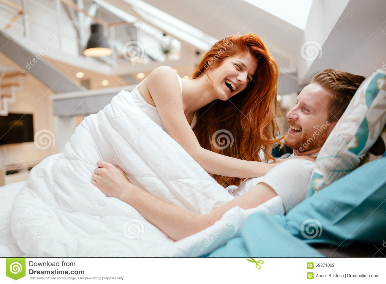 Royalty Free Stock Photo  Download Romantic Couple In Love Lying On Bed. Romantic Couple In Love Lying On Bed Stock Photo   Image  69871022