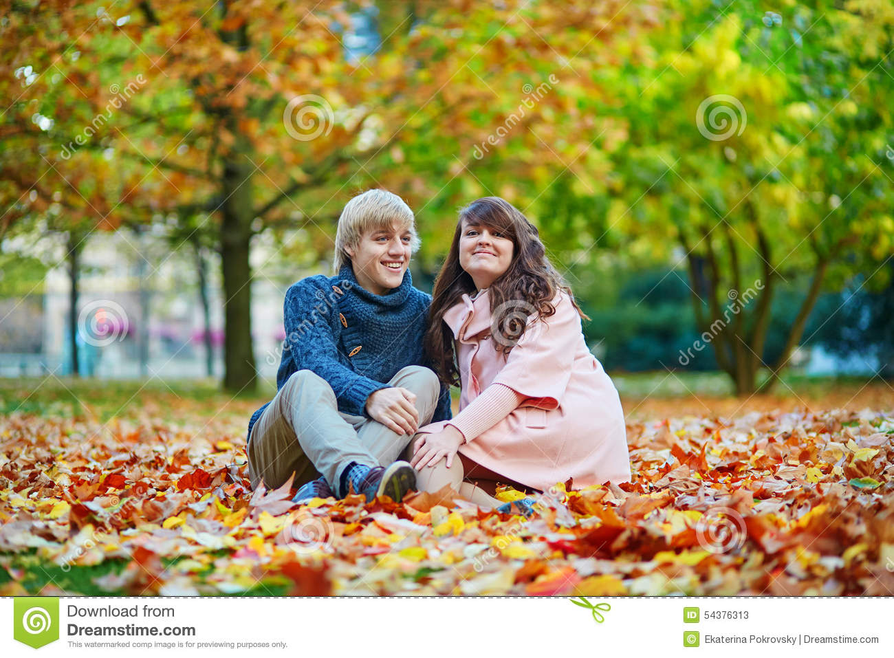Romantic Couple In Paris On A Fall Day Royalty-Free Stock ...