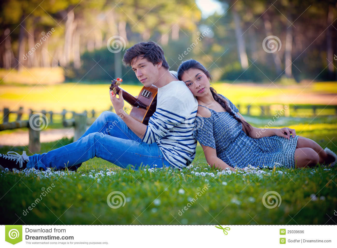 Romantic couple Playing Guitar Royalty Free Stock Image - Image: 29339696