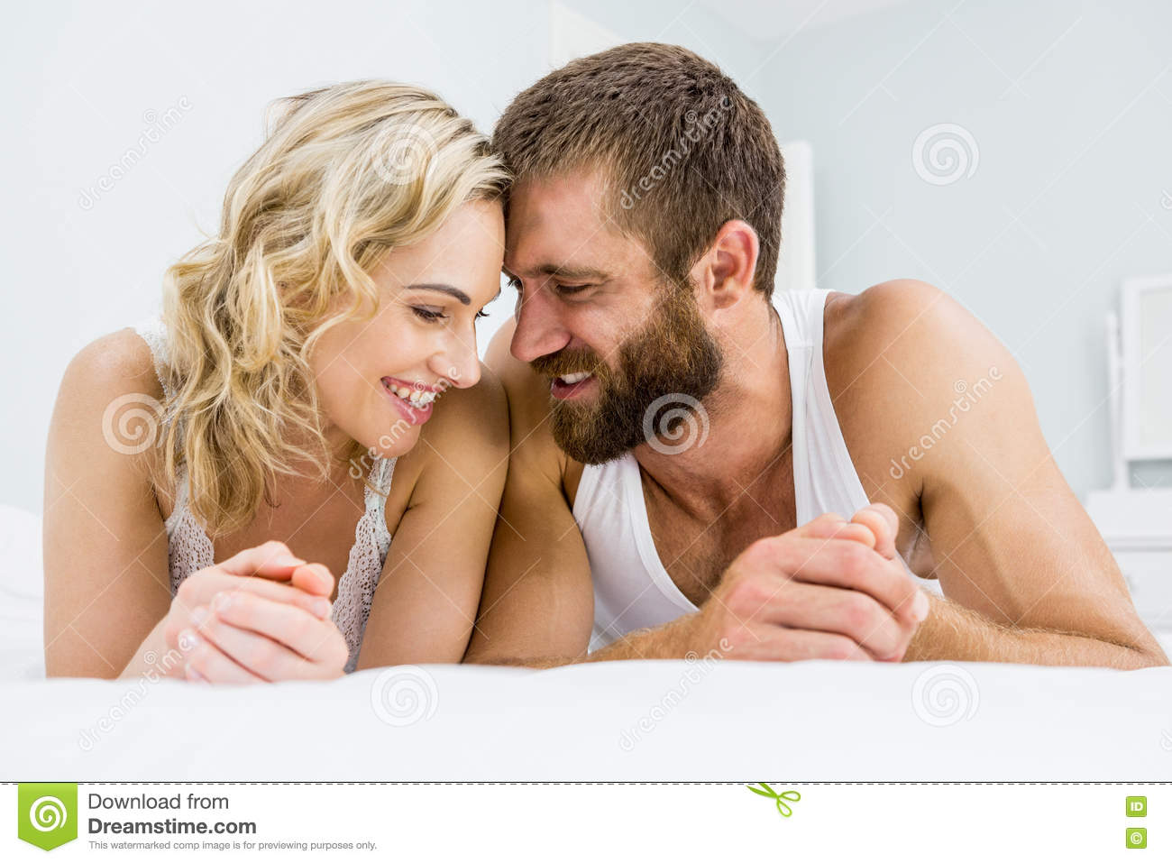 Romantic couple rela on bed. Romantic Couple Rela On Bed Stock Photo   Image  69790866