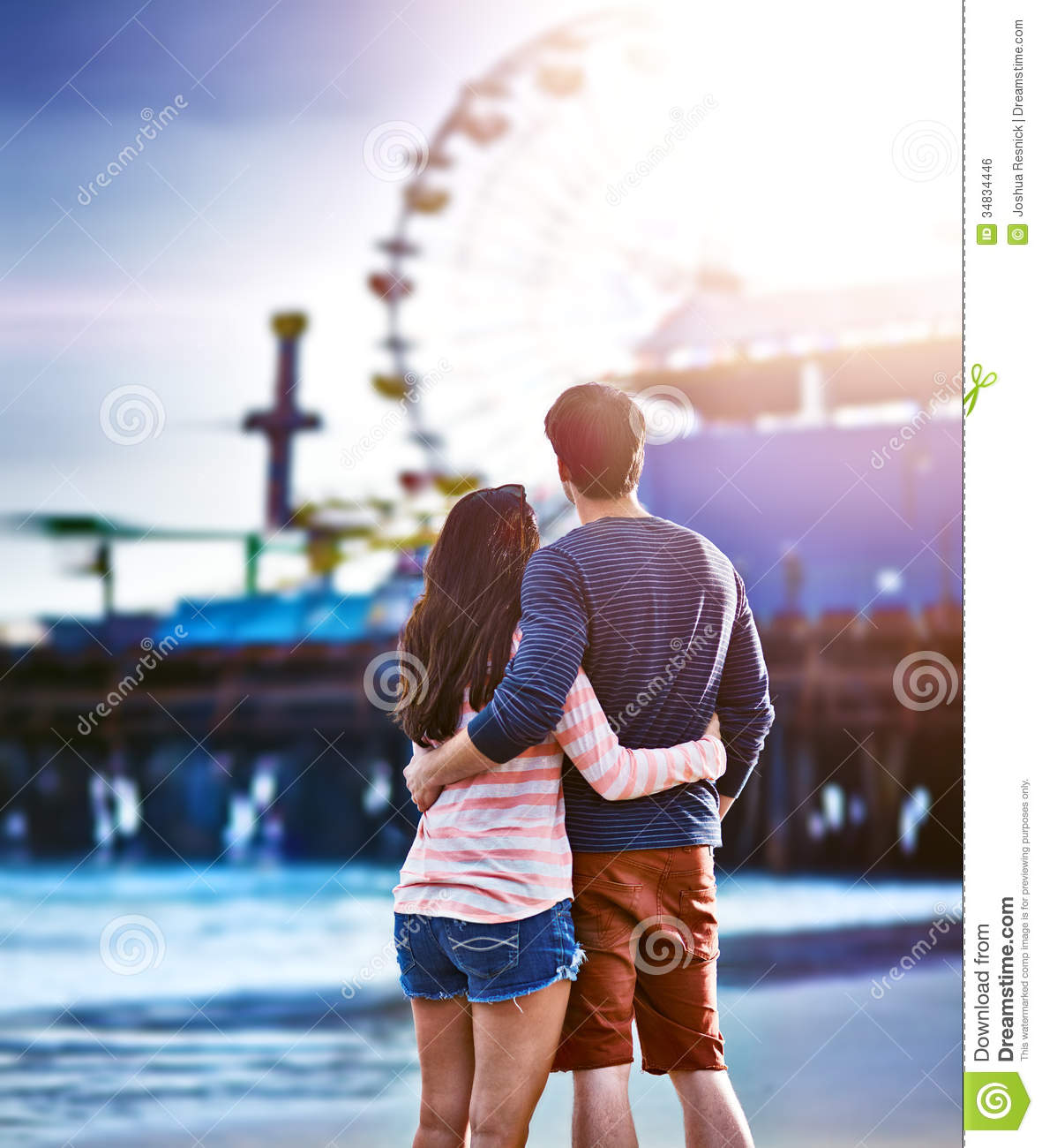 Romantic Couple At Santa Monica Pier Royalty Free Stock