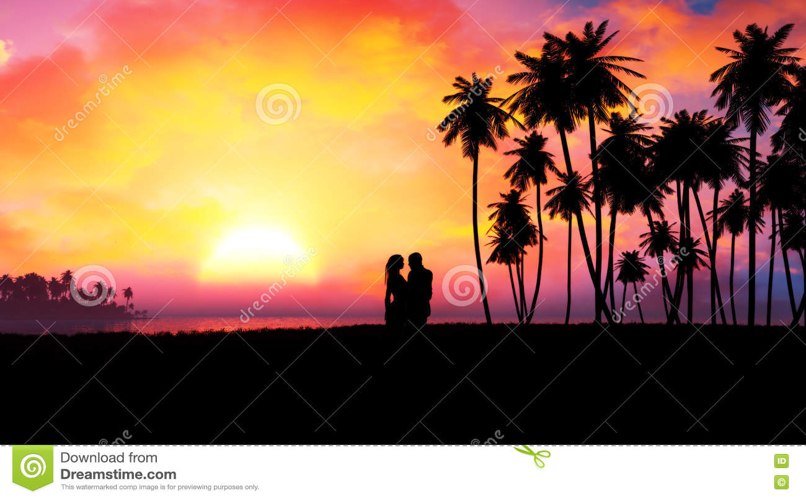 Download Romantic Couple Silhouette In Epic Sunset Stock Illustration - Illustration of dawn, design: 74622512