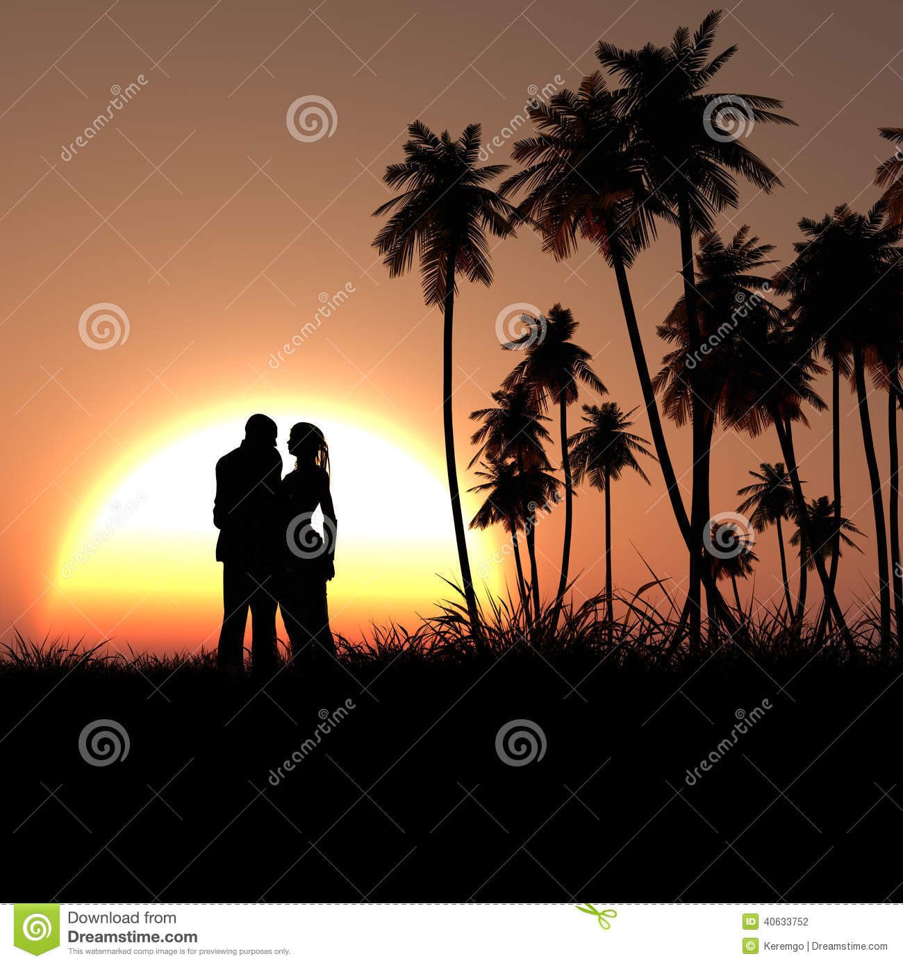 Happy Couple Sitting On Sandy Beach Embracing Kissing: Romantic Couple Silhouette In Tropic Sunset Stock