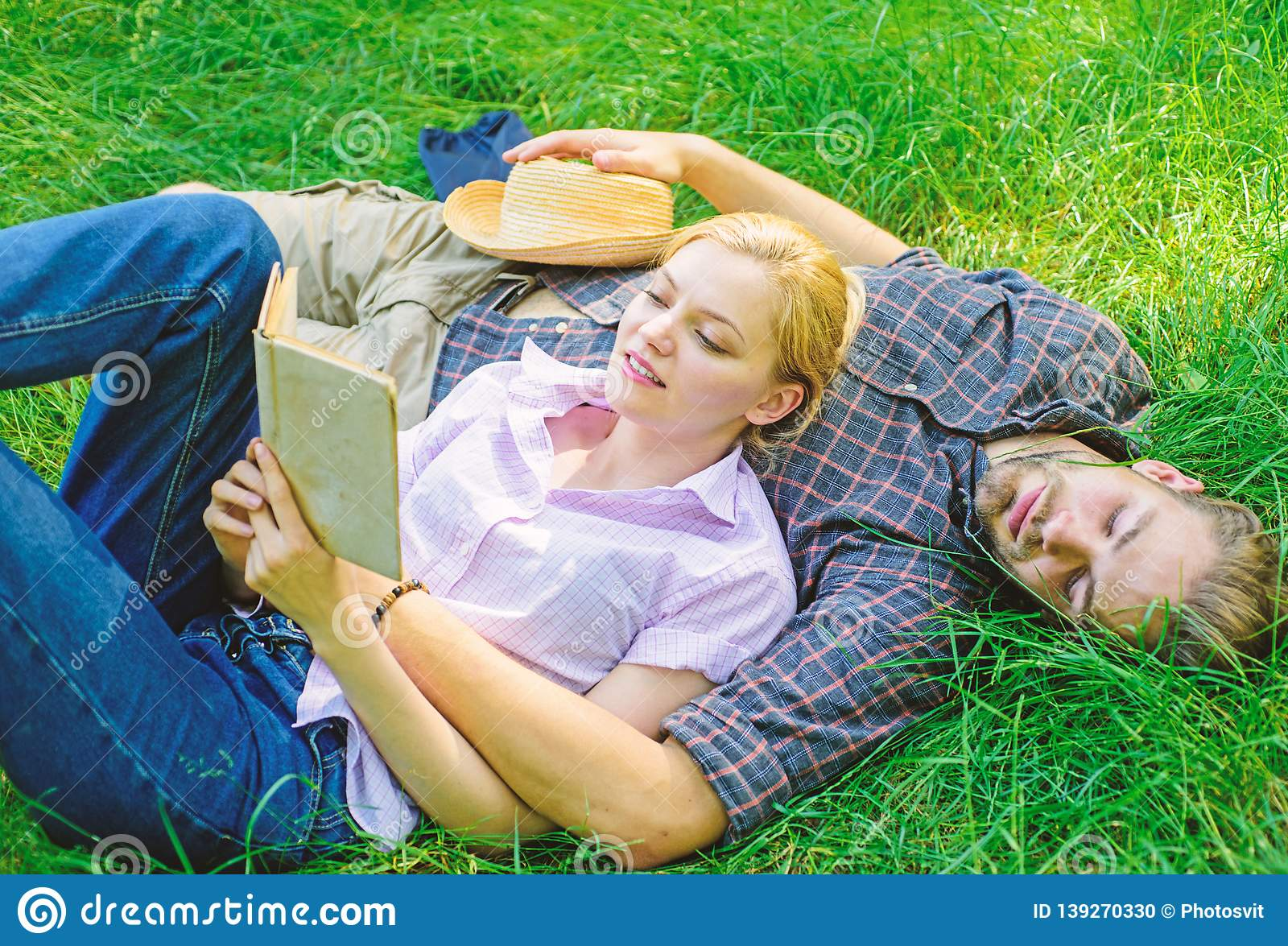 Romantic Couple Students Enjoy Leisure With Poetry Or
