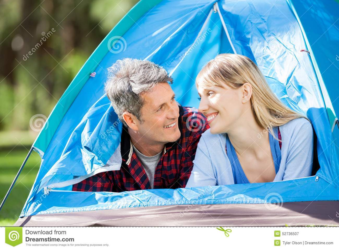 Romantic Couple In Tent At Park