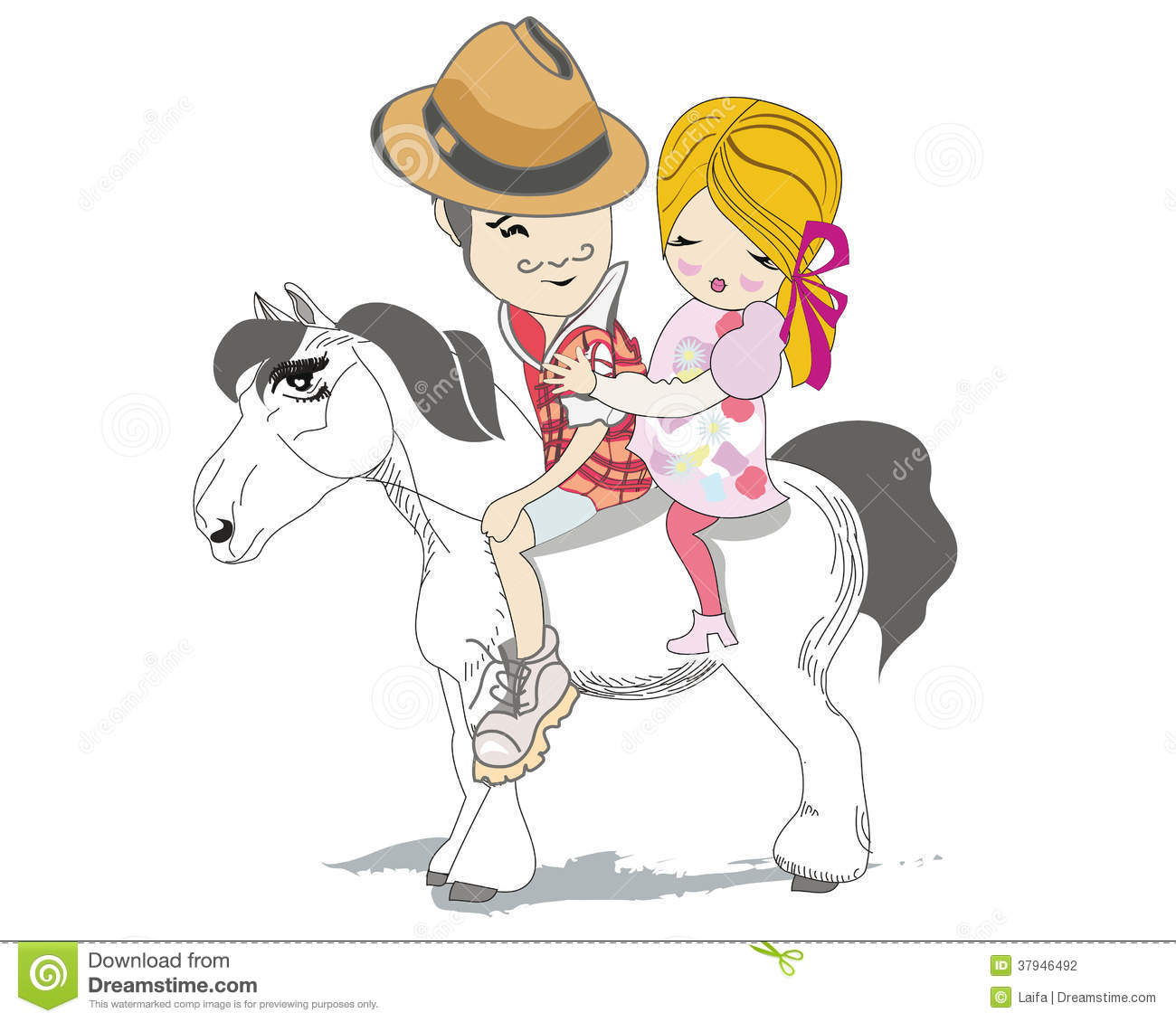 Romantic Couple Travels On A White Horse Cartoon