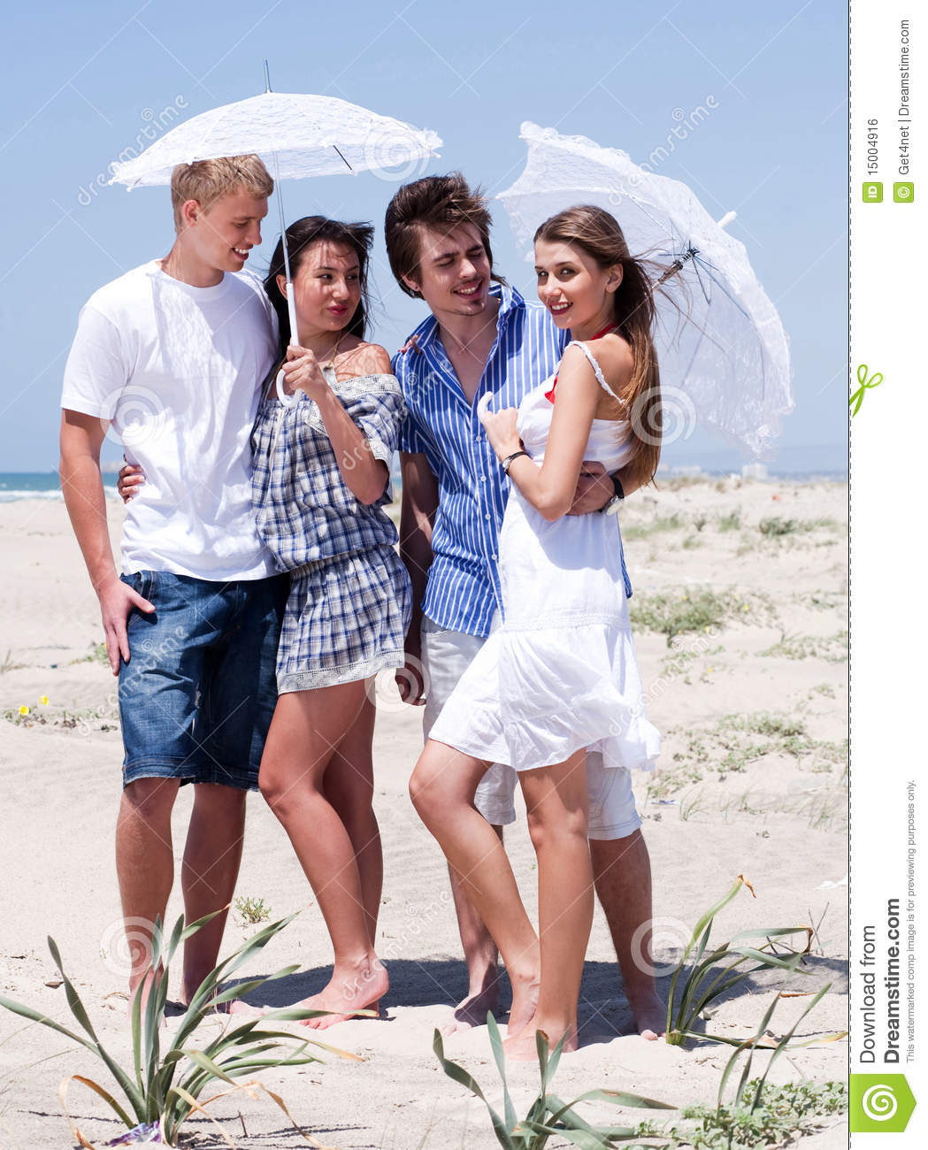 Couple At The Beach Stock Image Image Of Caucasian: Romantic Couples Of Four At The Beach Stock Photo
