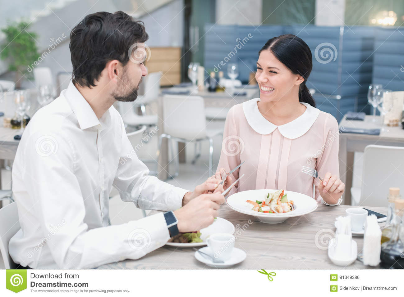 Romantic Date In Luxury Restaurant Stock Photo Image Of Casual Cafe 91349386
