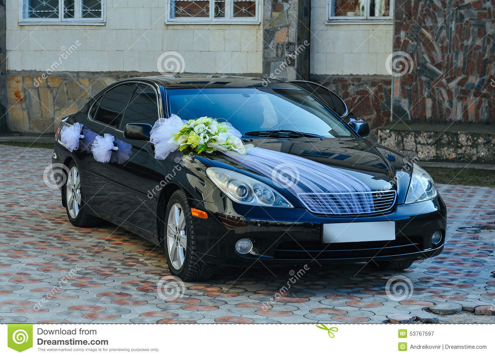 Romantic Decoration Flower On Wedding Car In Black Stock Image