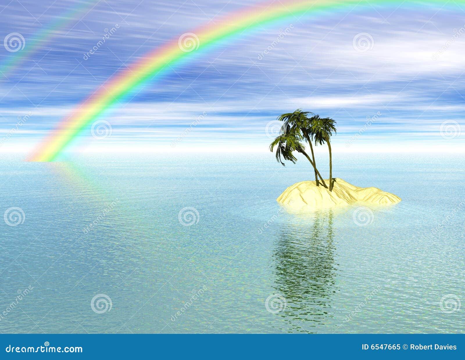 romantic desert island with palm tree and rainbow stock illustration illustration of render. Black Bedroom Furniture Sets. Home Design Ideas