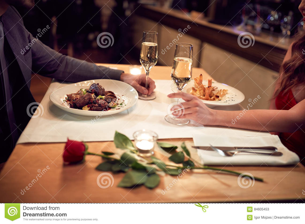 Romantic dinner for couple-concept