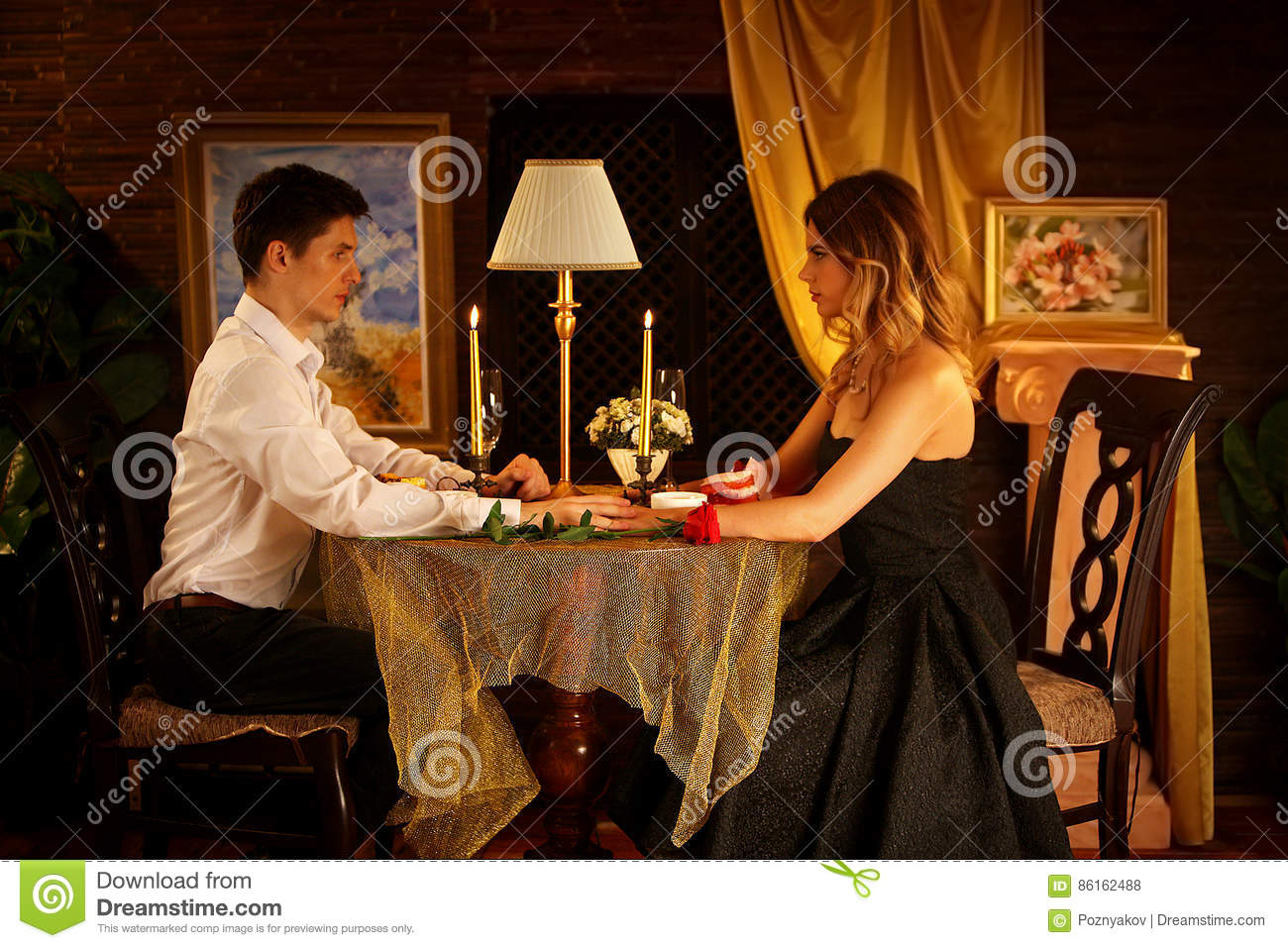 Download Romantic Dinner For Couple. Restaurant Interior Candlelight For  Romantic Date. Stock Photo